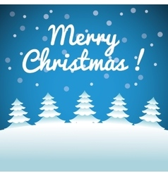 Merry Christmas concept with set of pine trees vector image