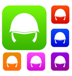 Military helmet set collection vector