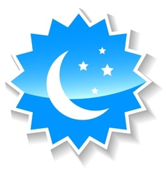 Moon blue icon vector