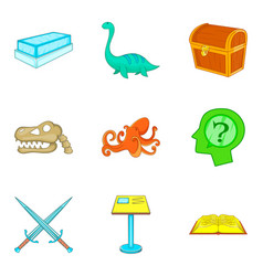 museum management icons set cartoon style vector image