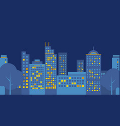 night-city-flat-design vector image