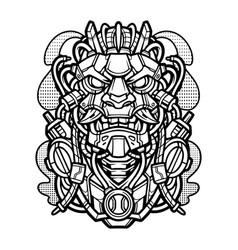 oni mecha vintage mascot logo vector image