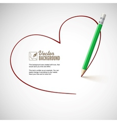 Pencil drawing heart vector image