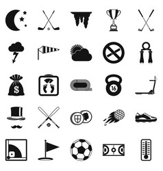 playing golf icons set simple style vector image