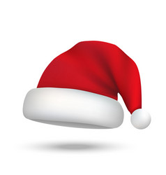 realistic christmas santa claus hat isolated vector image