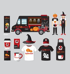 Restaurant cafe design set street halloween food vector