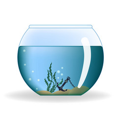 Round aquarium with water and decorations vector
