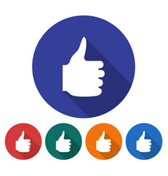 round icon fist with raised thumb flat style vector image