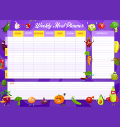 school timetable template with vegetables vector image