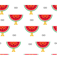 seamless background of watermelon and glasses vector image