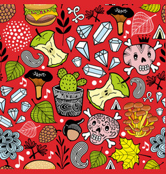 Seamless pattern with cute nature elements vector