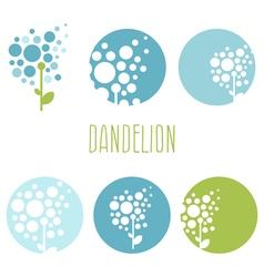 set concept abstract logo dandelions vector image