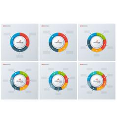 set modern style circle donut charts vector image