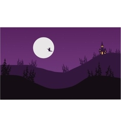 Silhouette of witch halloween vector