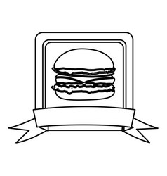 Silhouette square frame with ribbon and burger vector