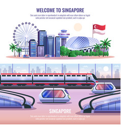 Singapore horizontal banners vector