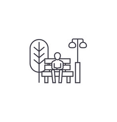 Sitting on a park bench line icon sign vector