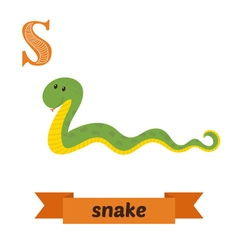 Snake S letter Cute children animal alphabet in vector