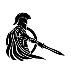 spartan with sword and shield vector image