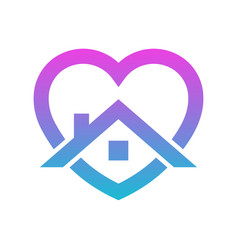 Stay home heart sticker icon for quarantine vector