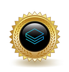 stratis cryptocurrency coin gold badge vector image