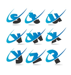 swoosh small letters logo icons set 3 vector image