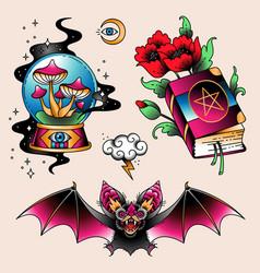 tattoo set magic vector image