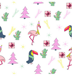 tropical christmas seamless pattern vector image