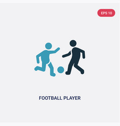Two color football player with ball icon from vector
