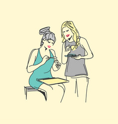 Two women making food sketch design style vector