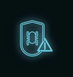 Virus shield problem neon icon web development vector