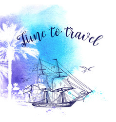 Watercolor travel background vector
