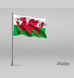 Waving flag wales - territory united vector