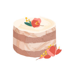 Wedding or birthday dessert decorated with flowers vector