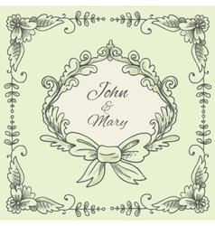 Wedding wreath sketch vector