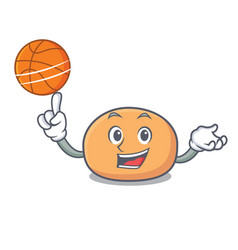 with basketball mochi character cartoon style vector image