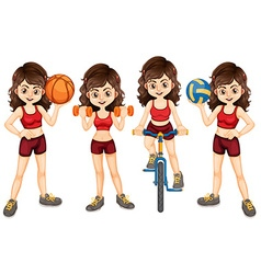 Woman athlete doing different sports vector image vector image