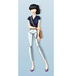 Woman wearing shirt and pants vector