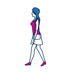 Young woman wearing a casual outfit takes a walk vector