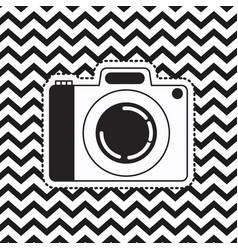 analog camera sticker on pop art zig zag linear vector image
