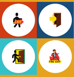 flat icon exit set of entry evacuation exit and vector image vector image