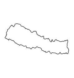 nepal map of black contour curves on white vector image vector image