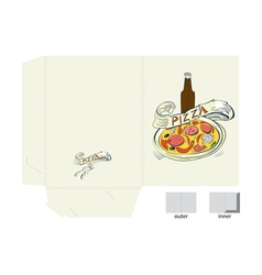 template for folder with pizza vector image
