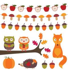 Autumn elements set vector image