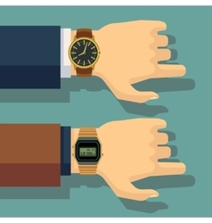 Businessmans hand with wrist watch Save time vector image