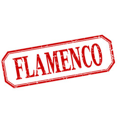 Flamenco square red grunge vintage isolated label vector