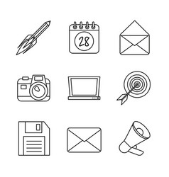monochrome background with marketing icons vector image vector image