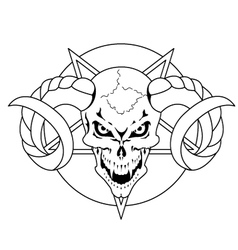 skull with horns vector image vector image