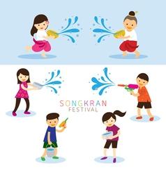 Songkran Festival Kids Character Playing Water vector image vector image