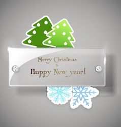 Square glass board with christmas greetings vector image